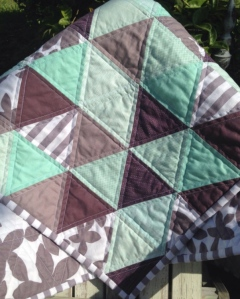 Mint and Purple Triangle Quilt