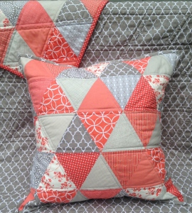 Coral and Grey Triangle Quilt