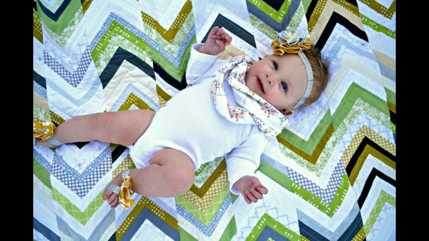 Beautiful Baby on a quilt!