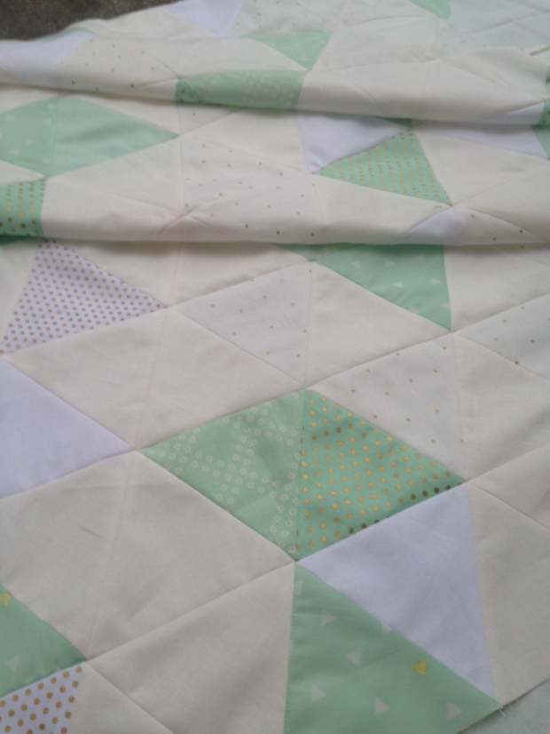 WIP Mint, Gold, & White Triangle Quilt