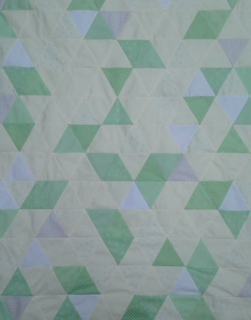 WIP Mint Gold And White Triangle Quilt