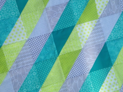 Turquoise, Lime Green & Grey Quilt