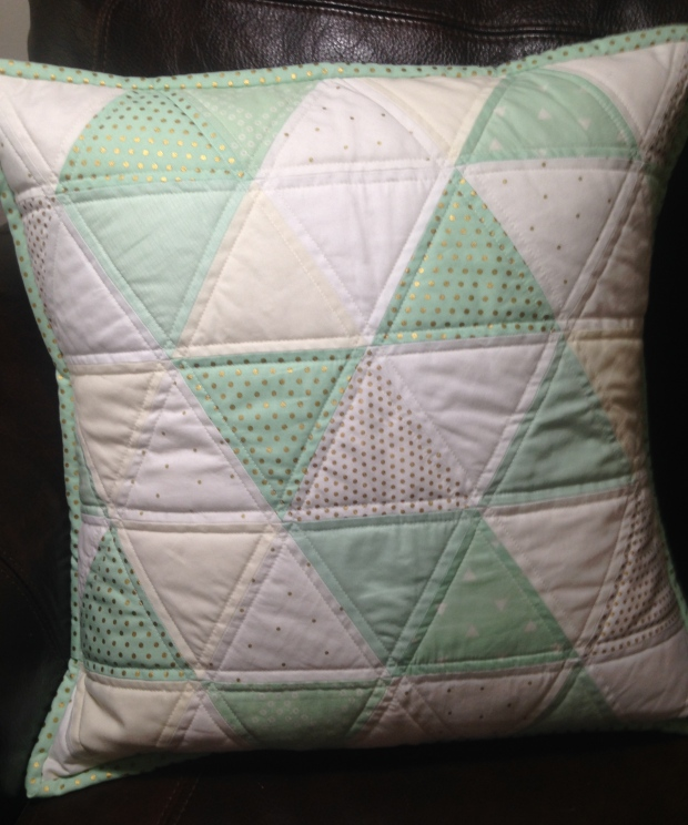 Mint, Gold & White Quilted Triangle Pillow Cover