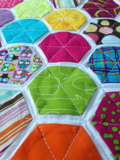 Quilting on The Hexagon Quilt