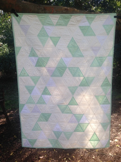 Gold, Mint & White Triangle Quilt