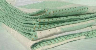 Mint, Gold & White Triangle Quilt