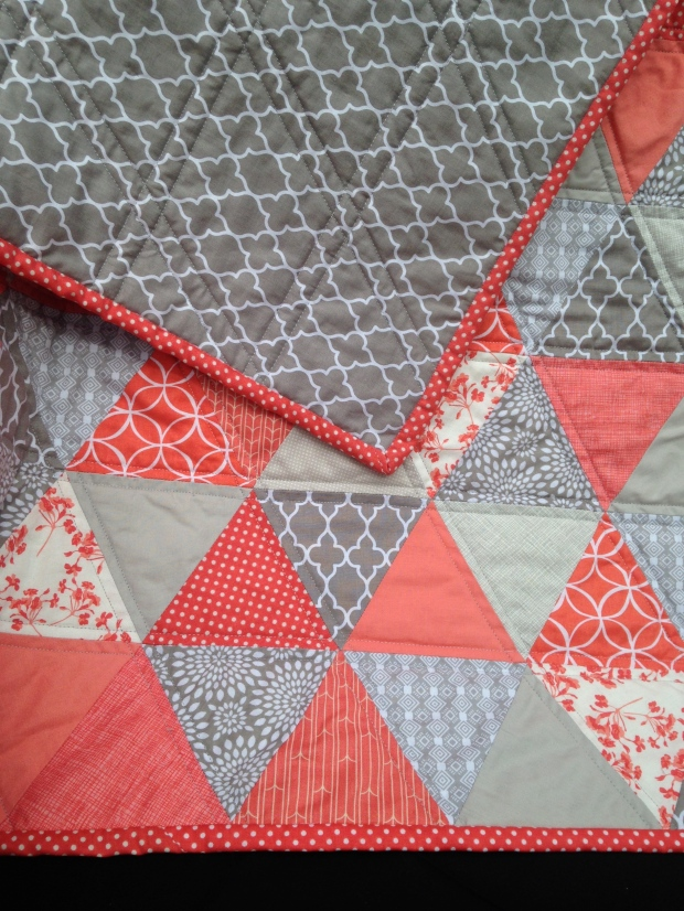 Coral and Gray Triangle Quilt
