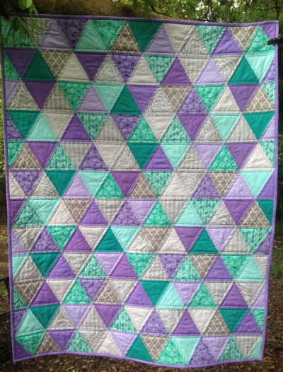 Purple and Turquoise Triangle Quilt