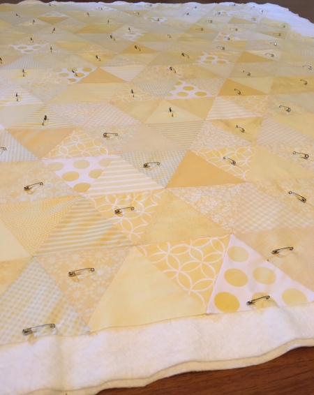 Basting the Yellow Triangle Quilt